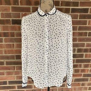 Anthropologie Maeve polka dot button down shirt
